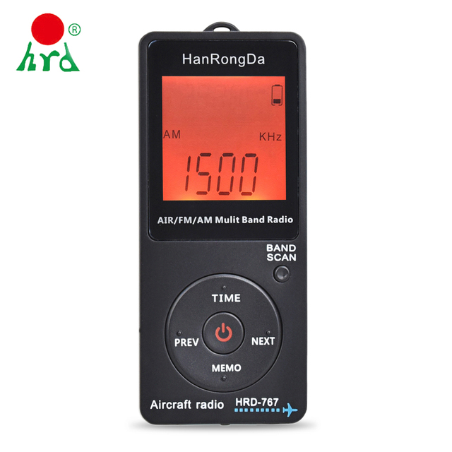 HanRongDa HRD 767 FM/AM/AIR Multi Band Radio Aircraft Band Radio Receiver Blacklit LCD Display Lock Button with Headphones
