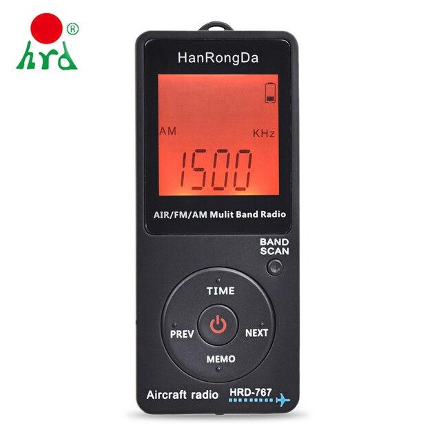 HanRongDa HRD 767 FM/AM/אוויר רב להקת רדיו להקת מטוסי רדיו מקלט Blacklit LCD תצוגת מנעול כפתור עם אוזניות