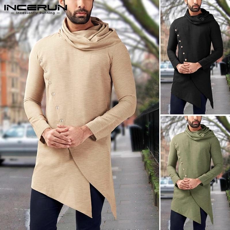 INCERUN Men Shirts Vintage Muslim Clothes Turtleneck Long Sleeve 2019 Solid Irregular Long Tops Men Indian Dress Shirts S-5XL