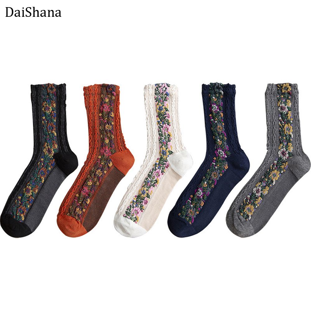 DaiShana 2019 New Fashion Women Socks Warm And Cute Euramerican National Wind-Flowers Autumn And Winter Ladies Cotton Mujer Sock