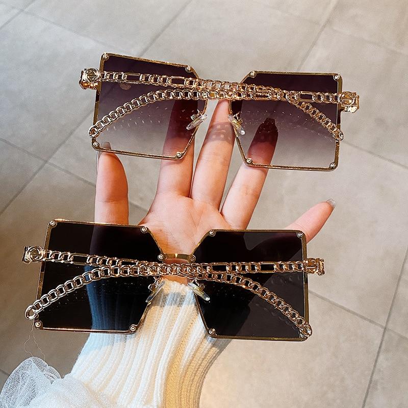 2021 New Fashion Oversize Gradient Sunglasses For Women Vintage Alloy Chain Frame Rivet Square Sun Glasses Unisex Elegant Shades