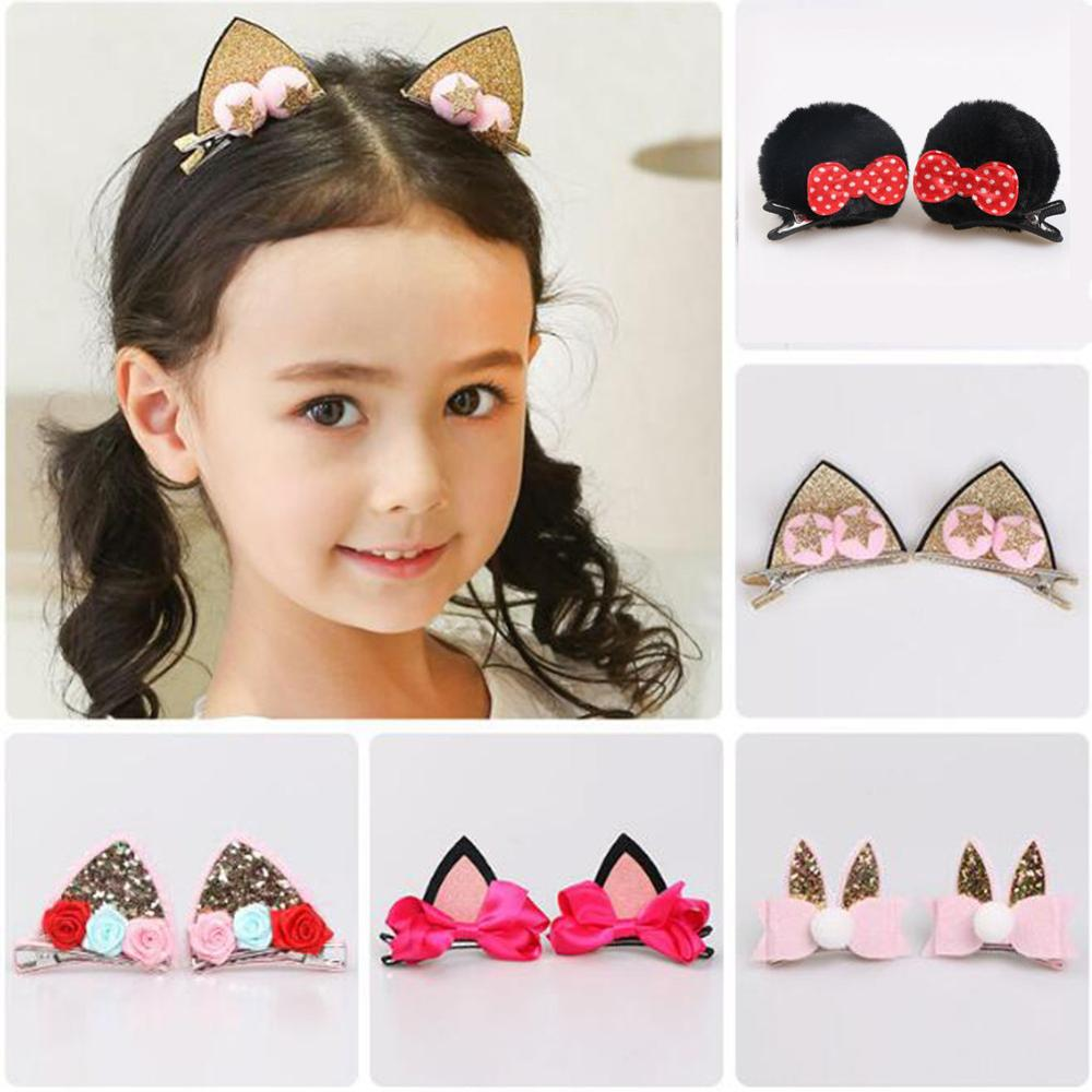 1Set Baby Girls GlitterCat Ears HairClips Flowers Hairpin Kid Hair AccessoriesHC