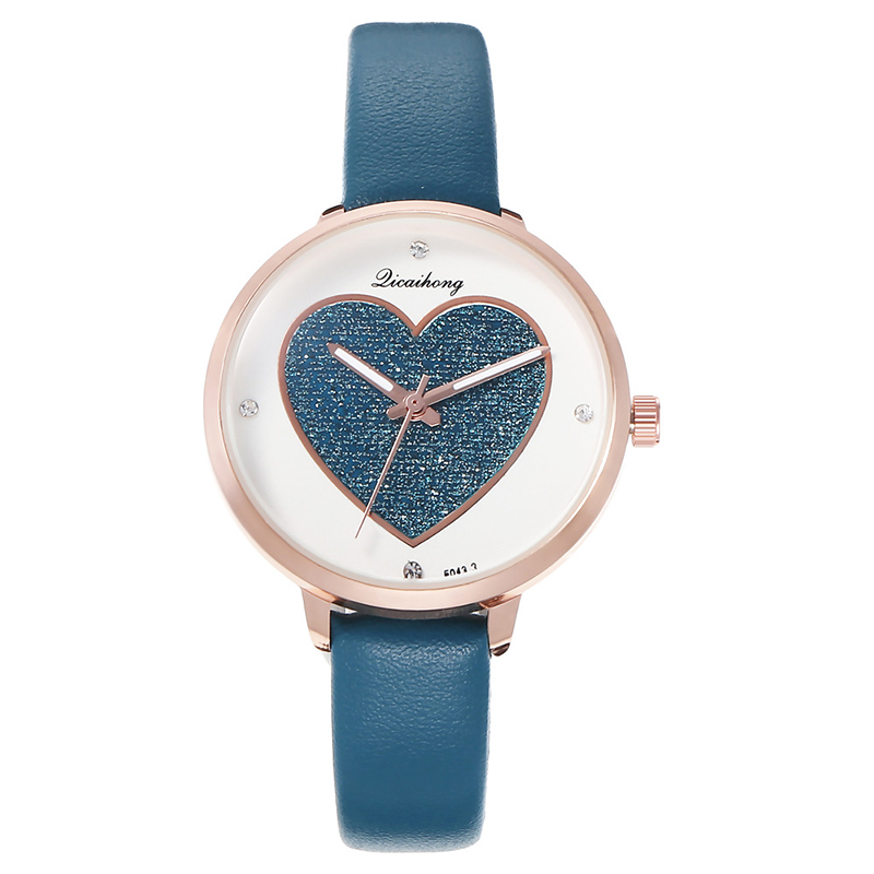 Women Watches Big Dial Gold Quartz Watch Ladies Wristwatch Love Shape Leather Blue Fashion Sequins Luxury Girls Bracelet Watch