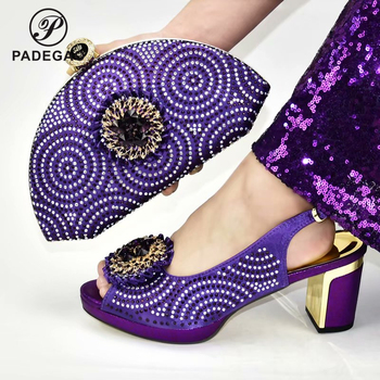 Purple Color New Design High Quality Slingback Italian Lady Shoes and Bag Set Pointed Toe Matching Shoes and Bag for Party