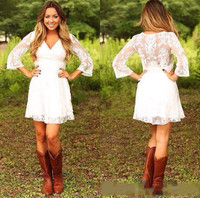 Modest Lace Cowgirls Country Wedding Dresses with 3/4 Long Sleeves Mini Bridal Gowns Reception Dress for Wedding
