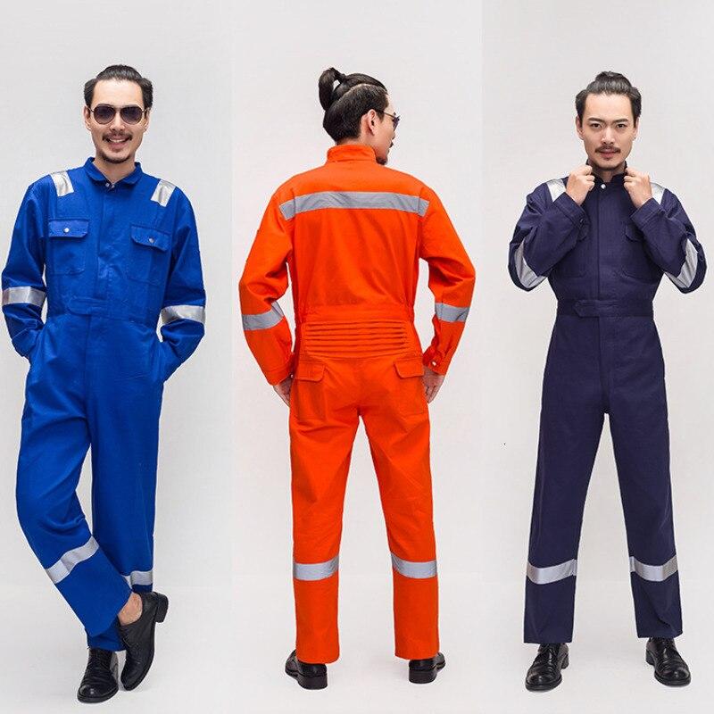 Men Cotton Work Protective Coveralls Reflective Strip Jumpsuit Factory Labor Overalls Multi-pocket Worker Repairman Uniforms 007