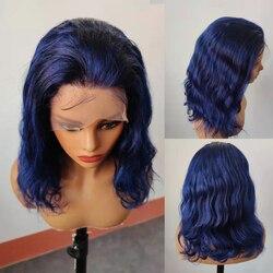 Новое поступление, синие человеческие волосы, парик на полной сетке, натуральные волнистые бразильские волосы, парики плотностью 130, предва...