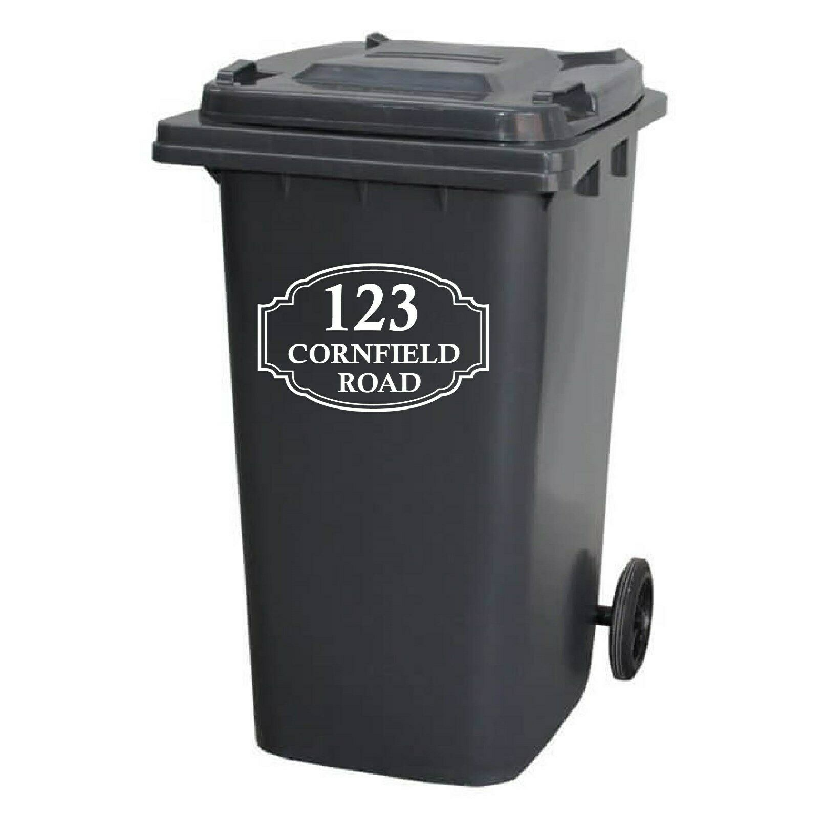 4 White or Black Custom Number Vinyl Weatherproof Wheelie Bin Stickers Flower