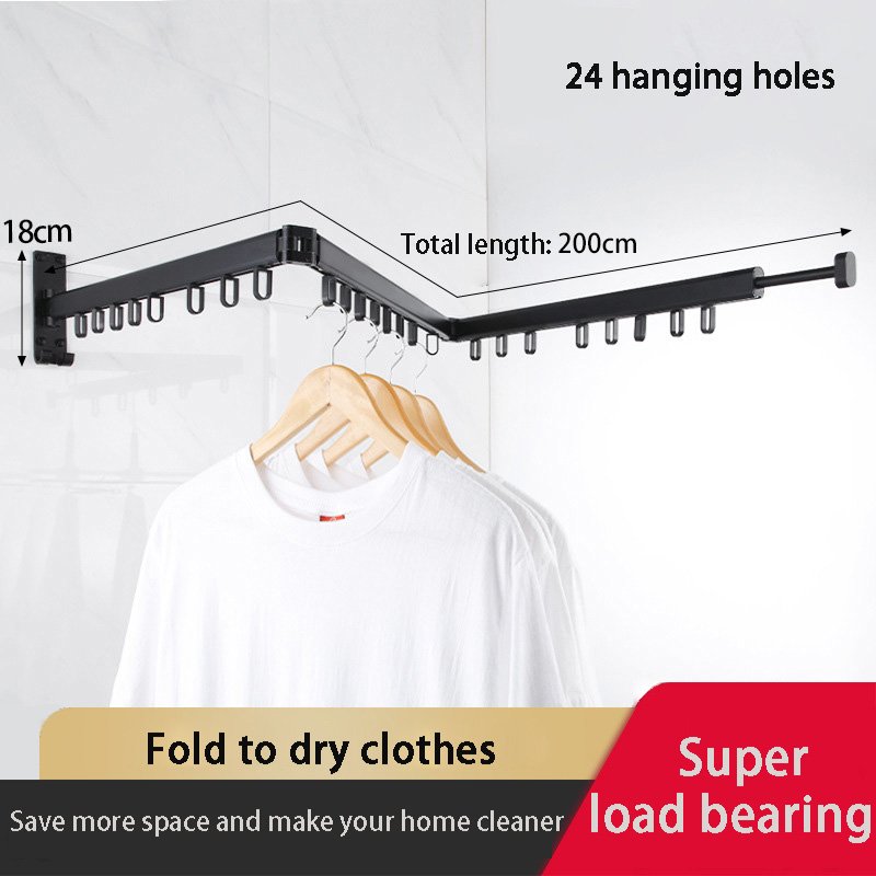 Folding Clothes Rack Wall Hanging Clothes Horse Indoor & Outdoor Drying Rack Telescopic Hangers For Clothes Balcony Clotheslines