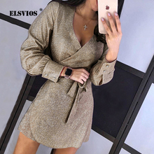 Sexy Deep V-neck Elegant Silk Shiny Dress Women Autumn Long Sleeve Lace-up Party