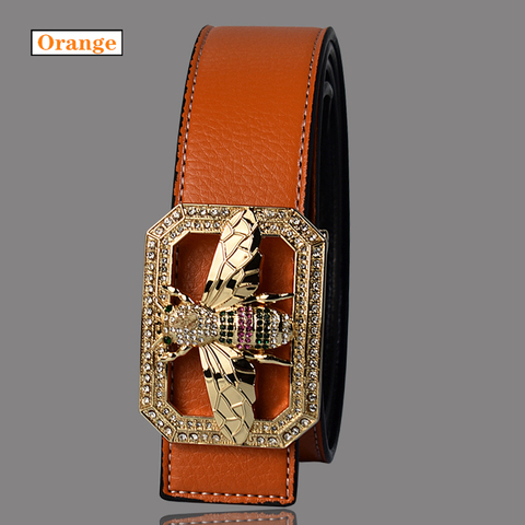 Luxury Brand Belts for Men &Women Unisex Fashion Shiny Bee Design Buckle High Quality Waist Shaper Leather Belts 2019 Islamabad