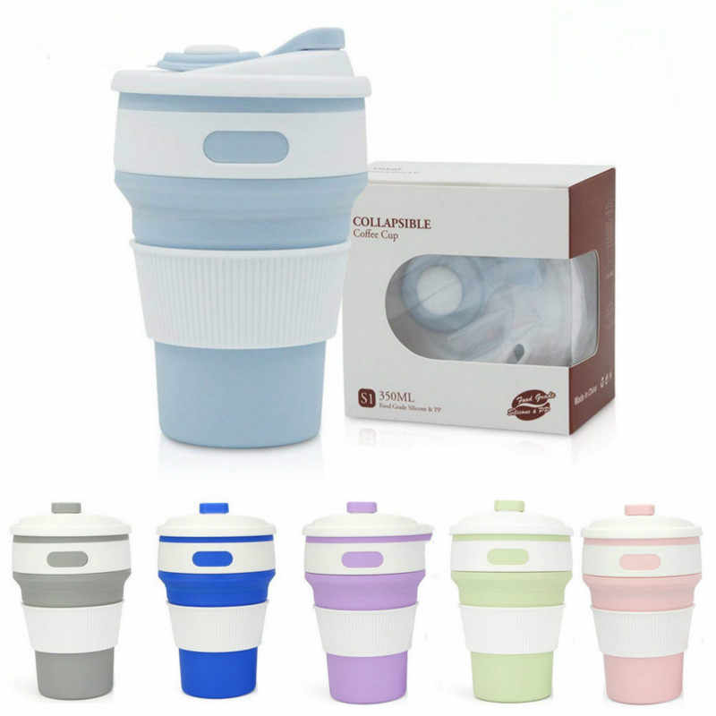 12oz Folding Coffee Cup Mug Silica Gel Portable Water Cup Travel Mug 350ml Tumbler Mug Outdoor Drinking Equipment Casual Cup