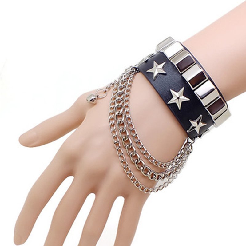 Punk Style Pentagram Leather Bracelets Bangles Rivet Non-mainstream Domineering Accessories Rock And Roll Vintage Lovers Jewelry image
