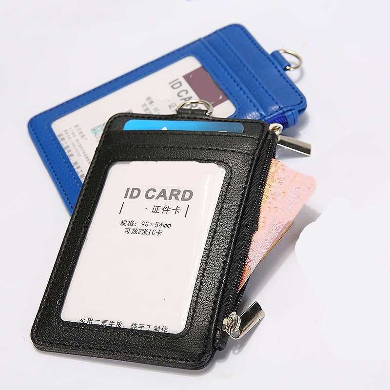 1pc Leather ID Badge Card Holder Lanyard Zipper Card Case Business Card Holder Organizer Portable Wallet