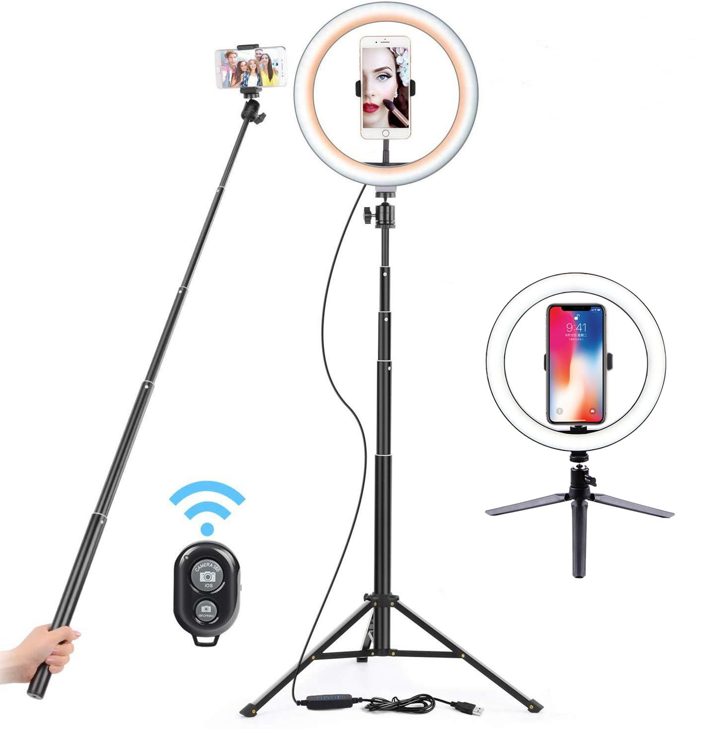 26cm USB LED Light Ring phone Photography Lamp With 130cm Selfie Stick Tripod Stand For Makeup Youtube VK Video Dimmable Light