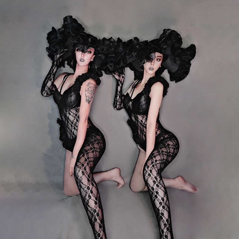 Black Lace Jumpsuit Sexy Dane Costume Big Hat For Rave Clothes Carnival Roupa Feminina New Nightclub Dress Stage Outfit Beyonce