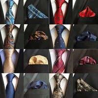 Moda seda 8cm gravata lenço conjunto clássico paisley floral pescoço laços bolso quadrado para o homem de negócios casamento verde bule gravata