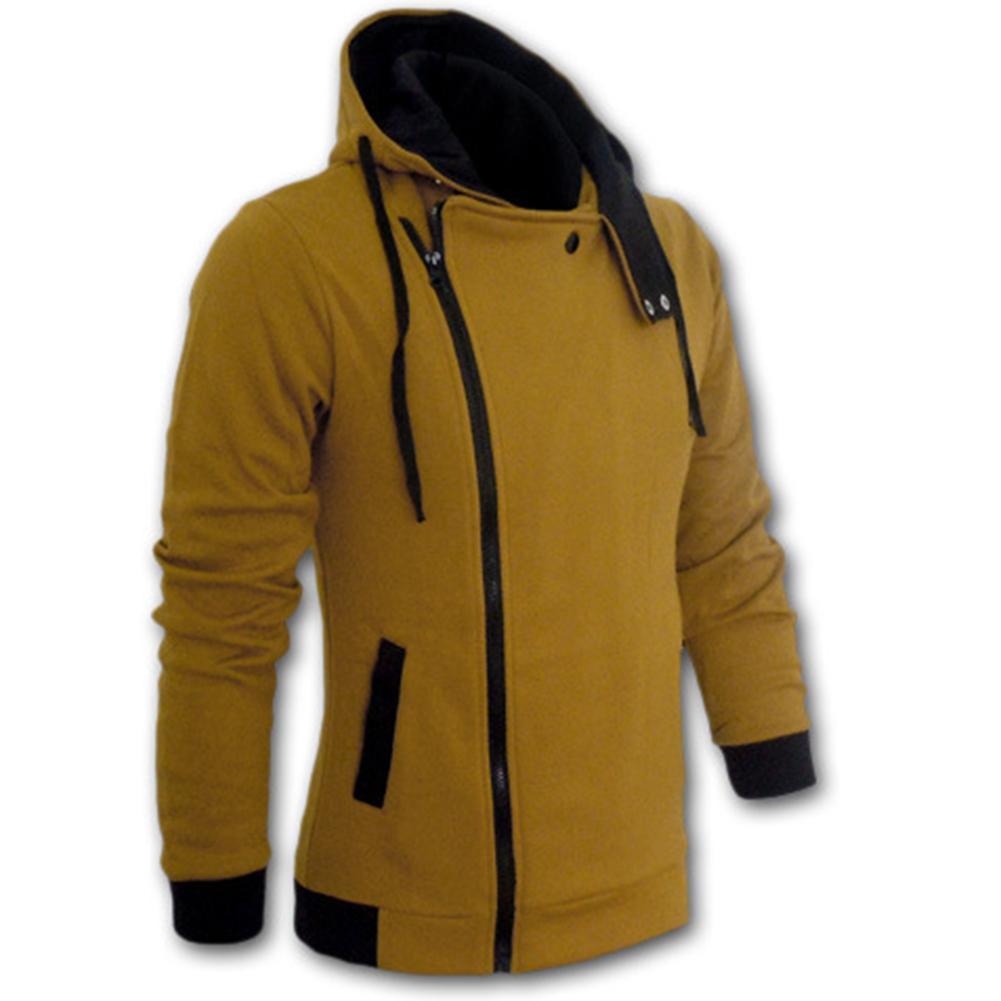 Men's Sportswear Is Fashionable Side Zipper  Drawstring Long Sleeve Sweatshirt Hooded Jacket Coat Sport Coat