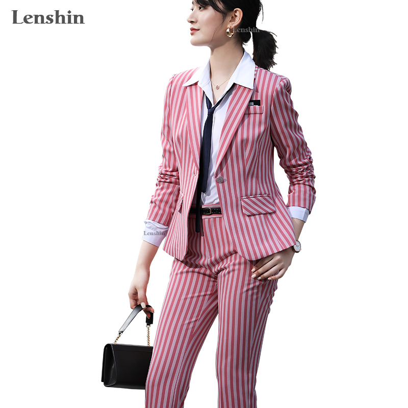 Lenshin 2 Piece Set Women Clothes Fashion Striped Blazer And Pants Office Lady OL Style Formal Uniform Suits