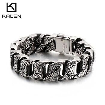 KALEN Punk 20mm Chunky Link Chain Bracelet Men Stainless Steel Myterious Symbol Charm Bike Chain Biker Armband Male Jewelry