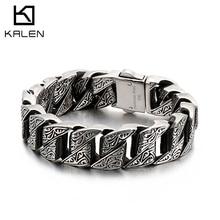 Kalen Punk 20Mm Chunky Link Chain Armband Mannen Rvs Myterious Symbool Charme Bike Chain Biker Armband Mannelijke Sieraden