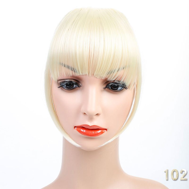 Allaosify Black Brown Blonde Fake Fringe Clip In Hair Extensions With Bangs High Temperature Fiber Synthetic Blunt Fake Bangs