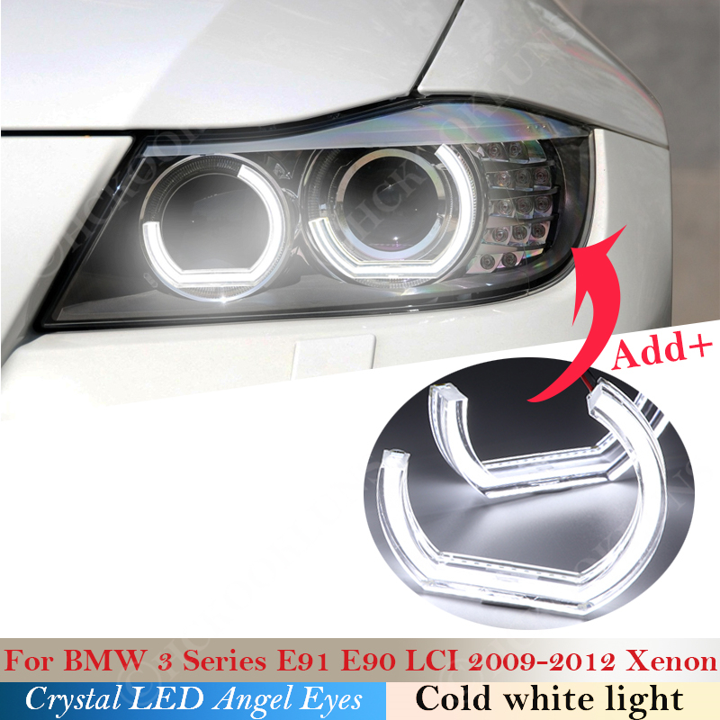 DTM Style Crystal LED Angel Eyes Halo Rings Light kits For BMW 3 Series E90 E91 LCI 2009-2012 Xenon headlight Car styling 2011 image