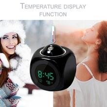 2019 חדש LCD הקרנת קול מדבר שעון מעורר תאורה אחורית אלקטרוני דיגיטלי מקרן שעון שולחן תצוגת טמפרטורה