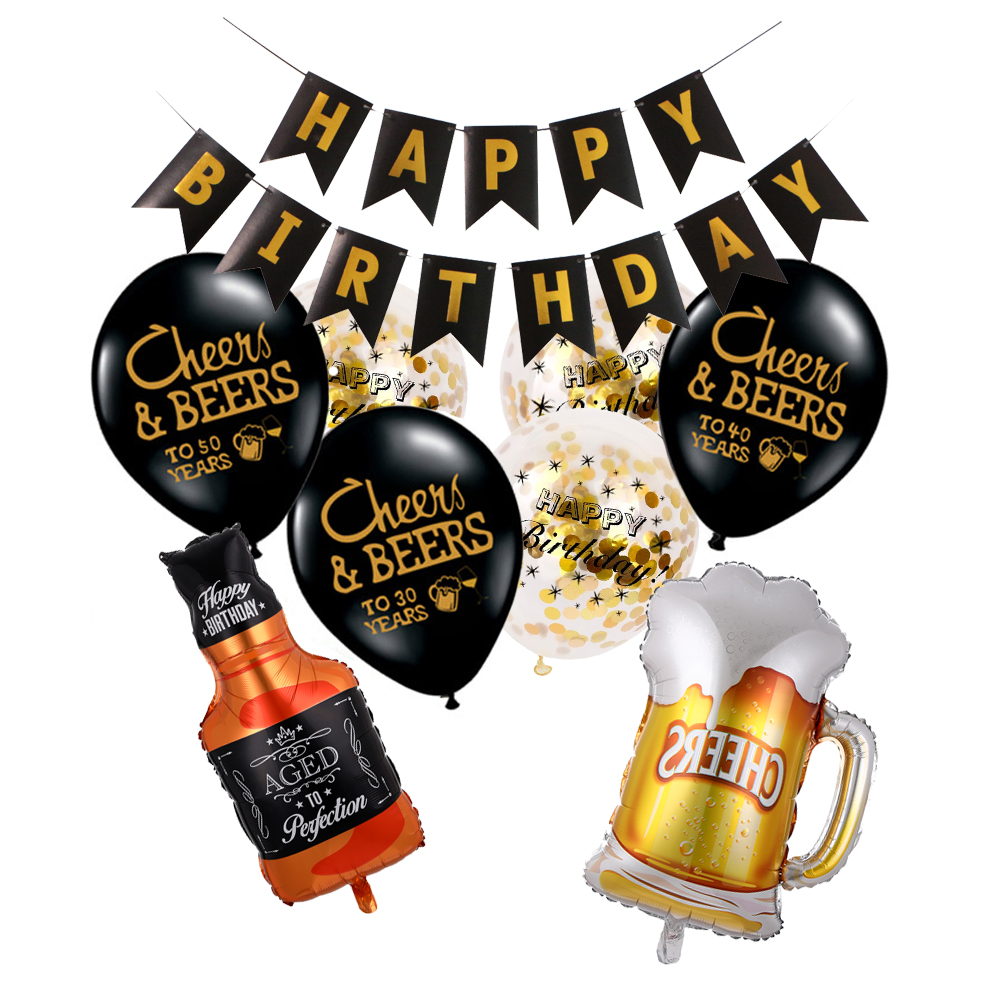 1 conjunto 12 polegada adulto feliz aniversário ouro confetes balões 30 40 50 anos de idade festa de aniversário decoração aniversário balões de hélio