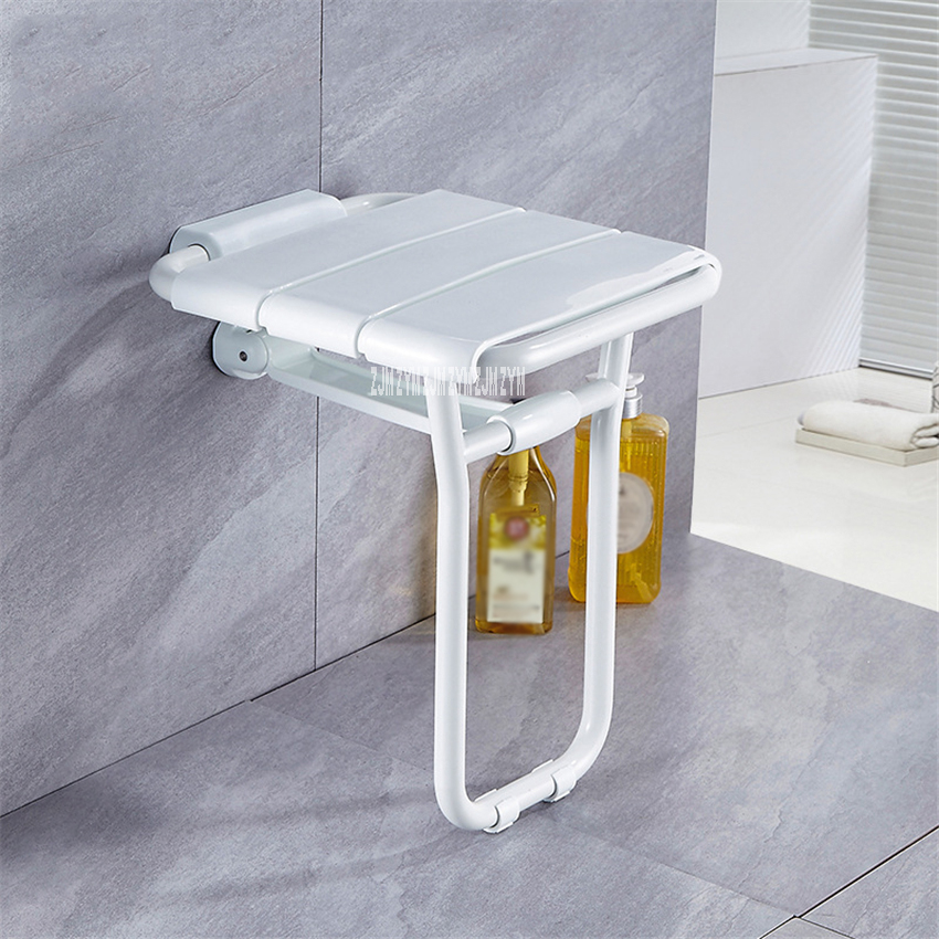 8905 Wall Mounted Bath Stool Stainless Steel PVC Plastic Bathroom Wall Foldable Bench F olding Shower Chair Shower F olding Seat