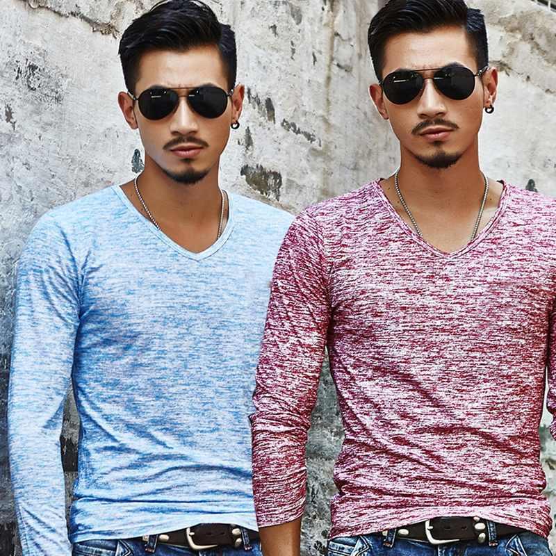 V 넥 t 셔츠 남성 패션 프린트 슬림 피트 tshirt 남성 긴 소매 티셔츠 여름 캐주얼 탑스 티셔츠 남성 언더 셔츠 t 셔츠 옴므