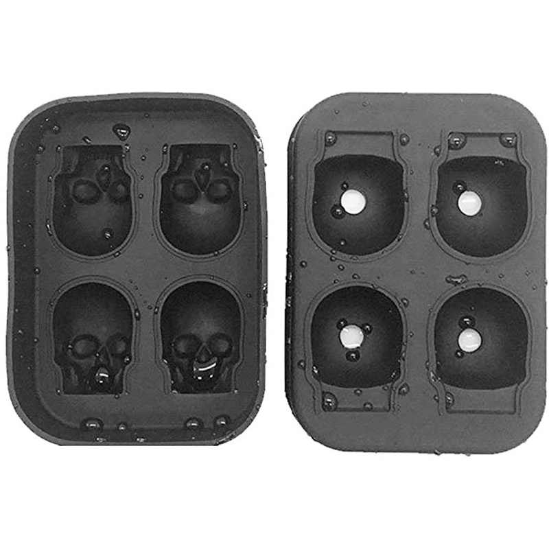 Whiskey Wine Cocktail Ice Cube 3D Silicone Mold Ice Cube Maker Skull Shape Chocolate Mould Tray Ice Cream DIY Tool