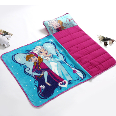 Disney Blue Frozen Elsa Anna Portable Rolled Nap Mat With Blanket And Pillow For Toddler Baby Girls Travel Blanket