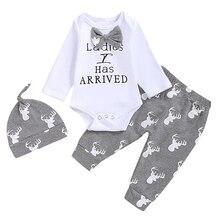 Комплект из 3 предметов для маленьких мальчиков; Рождественский комбинезон с длинными рукавами и штаны с принтом лося и шапочка; повседневная одежда для новорожденных; осенняя одежда для малышей