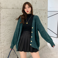 Autumn Winter New Fil Lumiere Knit Cardigan Single Breasted Green Pink V neck Casual Ladies Women Long Sleeve Sweater Coat 2019