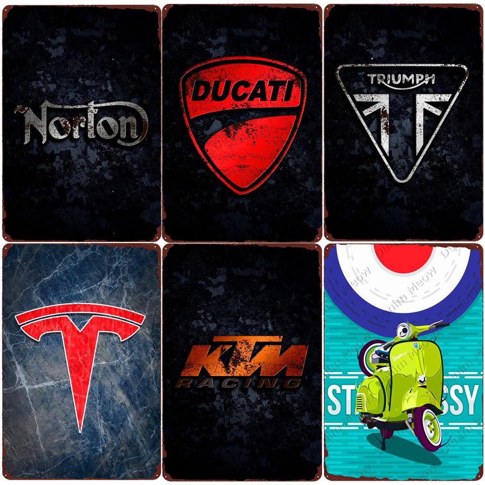 Брендовые Плакаты для мотоциклов, винтажные металлические оловянные знаки для гаража, декор для бара, клуба, декоративная настенная таблич...