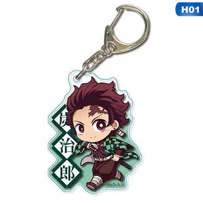 2020 Anime Demon Slayer: Kimetsu ไม่มี Yaiba Key Chains พวงกุญแจคอสเพลย์อะคริลิคจี้ Keyring