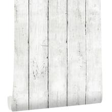 Classic White Gray Wood Paper  Self-Adhesive Removable Wood Peel and Stick Wallpaper Decorative Stick for Living Room Decoration