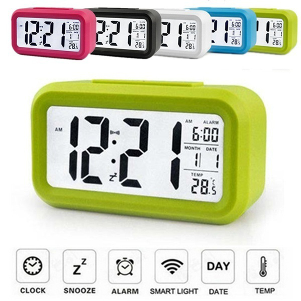 Large LED Backlight Display Clock Digital Alarm Clock Electronic Clock Temperature For Home Office Travel Desktop Decor Clock