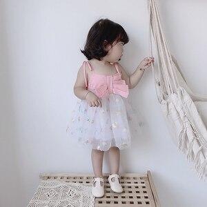 Verão bebê vestido infantil suspensórios vestido da criança meninas princesa vestidos de algodão macio estrela lua pequena cinta fio tutu