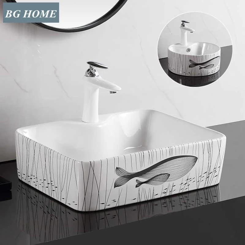 creative above counter basin small size rectangular washbasin household ceramic small wash basin small wash basin art basin