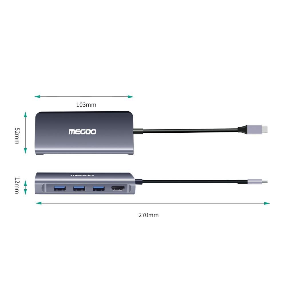 Megoo 8 en 1 USB C Station d'accueil pour ordinateur portable Type C vers VGA/HDMI/Ethernet/USB3.0/PD Station d'accueil de Charge pour Surface Go/Mac Pro - 4