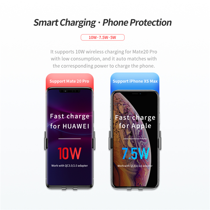 Image 4 - ROCK Car Wireless Charger Infrared Sensor Fast Charging For iPhone XR XS MAX for Huawei P30 Pro for Samsung Car Phone Holder-in Phone Holders & Stands from Cellphones & Telecommunications
