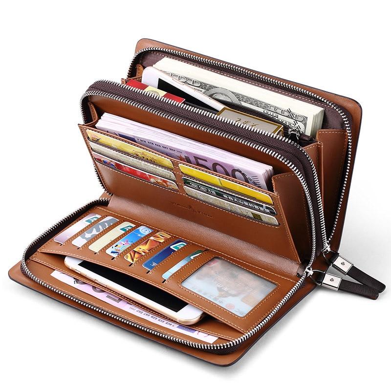 WILLIAMPOLO Fashion Business Design High Capacity Organizer Wallet Men Clutch Wallet Genuine Leather Wallet PL179