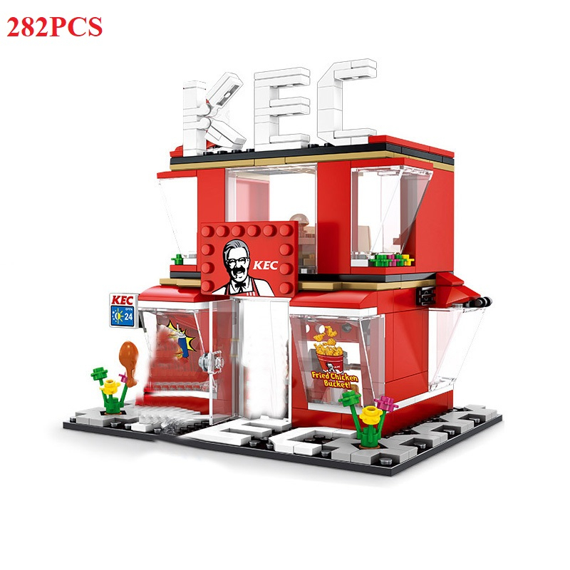 Image 3 - 280+ PCS Mini City Street View Building Blocks Coffee Shop Hamburger Store City Diy Bricks Toys For Children Christmas GiftsBlocks   -