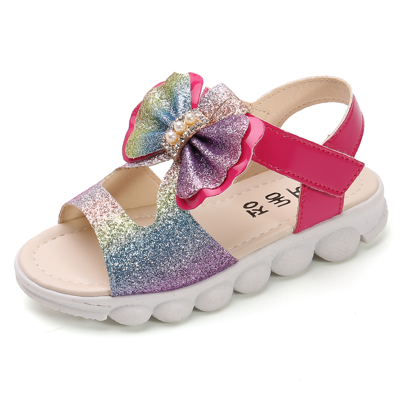 ULKNN Girl'S Sandals 2020 Summer New Style Soft-Sole Bow Cute Baby Little Girl Princess Beach CHILDREN'S Sandals