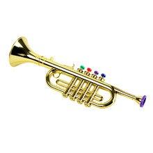 1pc trompete brinquedo instrumento musical portátil brinquedo presente de aniversário para crianças