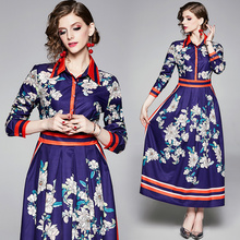 Banulin 2019 Autumn Winter Women Bohemian Boho Runway Vintage Retro Flower Stripe Print Long Sleeve Maxi Shirt Dress