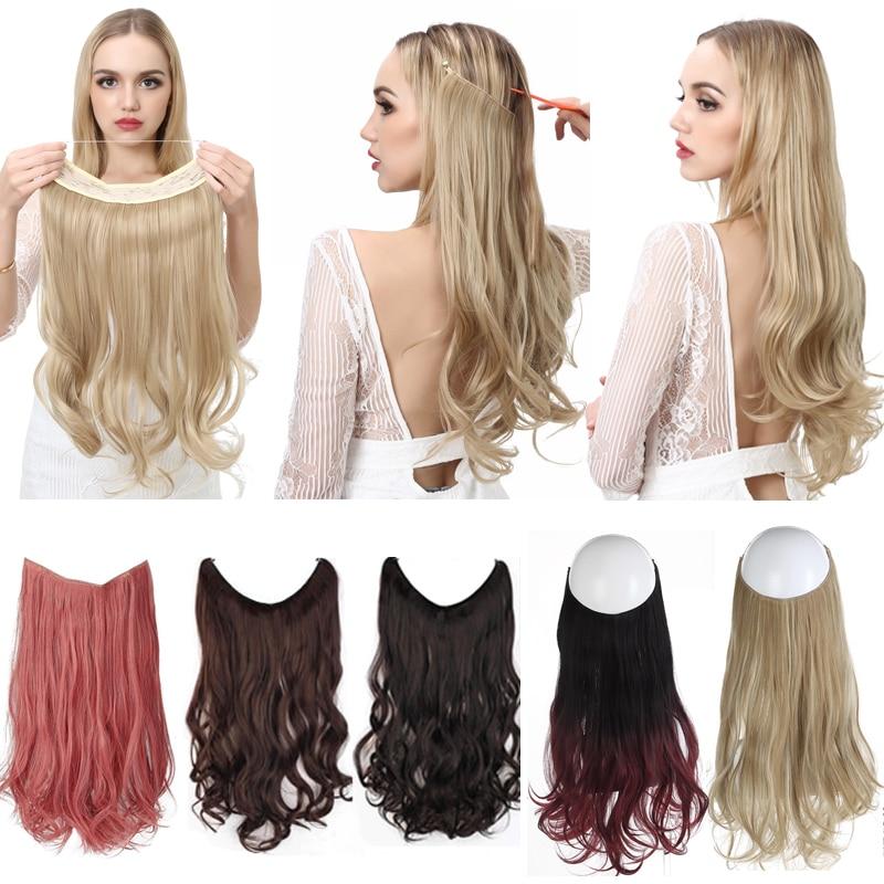 Doczepiane włosy Wave Invisible Ombre Bayalage syntetyczny naturalny ukryty tajny drut korona linka wędkarska włosy