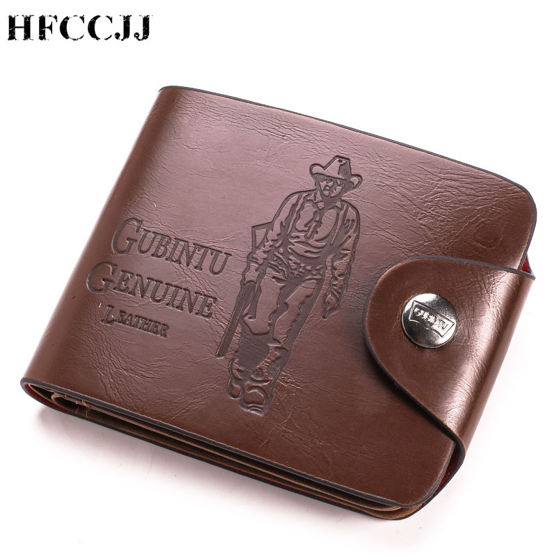NEW Vintage Men's Wallet Genuine Leather Short Wallets Male Multifunctional Cowhide Male Purse Coin Pocket Photo Card Holder